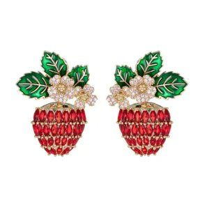 New Lina Red Strawberry Flower CZ Crystal Earrings